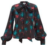 Ganni Pussybow Floral-print Silk-blend Satin Blouse - Womens - Black Multi
