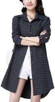 Moonpin Women Casual Long Sleeve Cotton&Linen Stripes Tunic Blouse Shirt Dress Grey XL