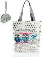 Micom 2016 Cute Owl Printing Canvas Shoulder Handbags Tote Bags for Women,girls