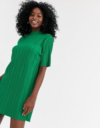 Asos Design DESIGN plisse high neck t-shirt dress