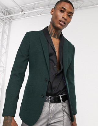 ASOS DESIGN super skinny wool mix blazer in forest green