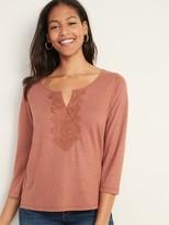 Old Navy Split-Neck Lace-Trim Linen-Blend Top for Women