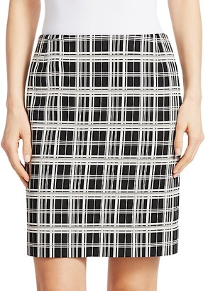 Akris Punto Check Jacquard Pencil Skirt