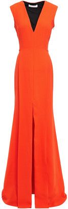 Victoria Beckham Pleated Wool And Silk-blend Crepe Gown