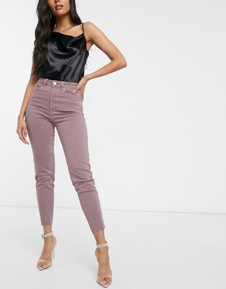 ASOS DESIGN Farleigh high waist slim mom jeans with raw hem in dusty mauve