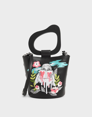 Charles & Keith By Teeteeheehee: Sculptural Handle Embroidered Bucket Bag
