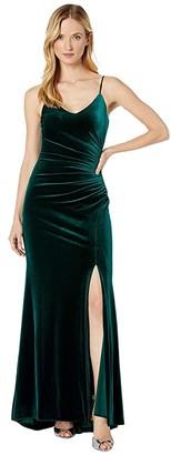 Vince Camuto Velvet Slip Gown w/ Side Tucks (Emerald) Women's Dress