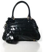 Valentino Garavani Black Patent Leather Tiered Full Zipper Satchel Handbag