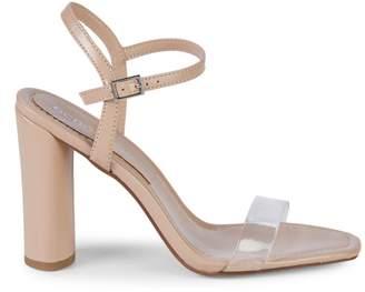 BCBGeneration Ilsie Shiny Leather & PVC Block-Heel Sandals
