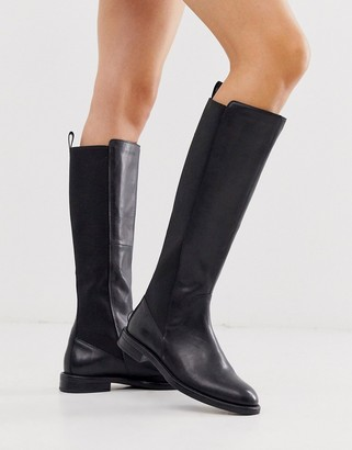 Vagabond Amina black leather knee high flat boots