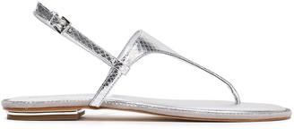 MICHAEL Michael Kors Crystal-embellished Snake-effect Leather Sandals