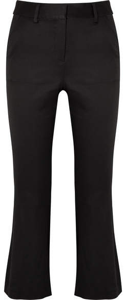 Frame Cropped Satin Flared Pants - Black