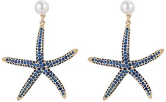Eye Candy Los Angeles Starfish Faux Pearl & Pave CZ Drop Earrings