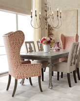 """Haute House Liday"""" Dining Table, """"Benjamin"""" Linen Chair, and Pink Damask Wing Chair"""