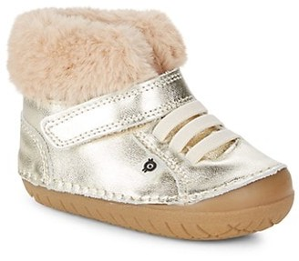 Old Soles Baby's Metallic Leather Faux Fur Booties