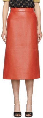 Gucci Red Lambskin Skirt