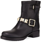 Valentino Garavani Rockstud Leather Buckle Ankle Moto Boot