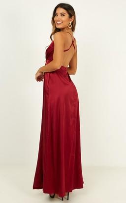Showpo Wild Instinct Maxi dress in wine satin - 8 (S) Wedding Guest