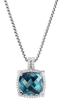 David Yurman Sterling Silver Chatelaine Pendant Necklace with Hampton Blue Topaz & Diamonds, 18