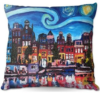 "Ebern Designs Ruggeri Couch Starry Night Amsterdam Square Pillow Cover & Insert Size: 18"" x 18"""