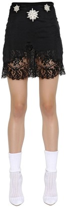 Francesco Scognamiglio Embroidered Crepe & Lace Skirt