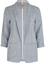 River Island Womens Light Grey chambray longline blazer