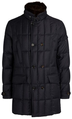 Moorer Fur-Collar Quilted Jacket
