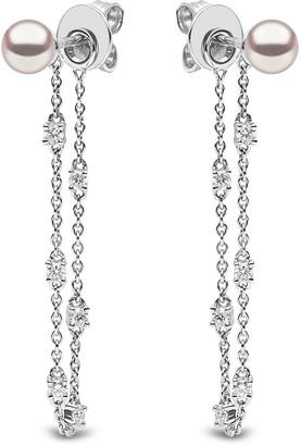 Yoko London 18k White Gold Pearl & Diamond Chain Earrings