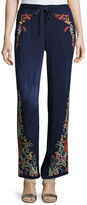 Johnny Was Angeline Embroidered Wide-Leg Easy Pants, Plus Size