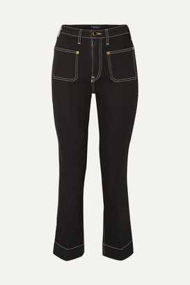 KHAITE Raquel Cropped High-rise Flared Jeans - Black