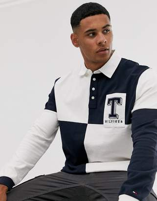 Tommy Hilfiger colourblock rugby long sleeve polo shirt-Blue