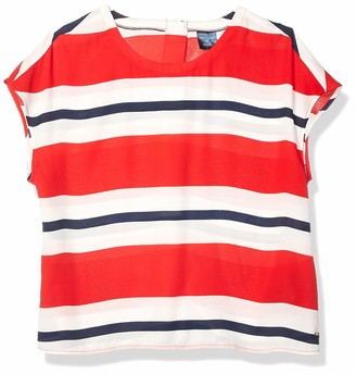 Tommy Hilfiger Women's Adaptive Short Sleeve Top with Velcro Brand Closure Down The Back