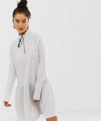 Noisy May long sleeve drop hem waist mini dress in white
