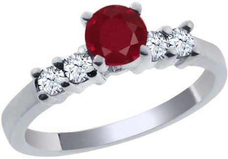 Gem Stone King 0.88 Ct Round Red Ruby White Topaz 18K White Gold Engagement Ring