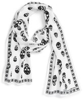 Alexander McQueen Skull Print Silk Crepe Scarf