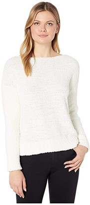 Vince Camuto Long Sleeve Boat Neck Teddy Yarn Sweater (Antique White) Women's Clothing