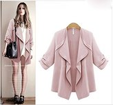 Urparcel Europe and the United States Women's Open Front Loose Trench Coat Outwear Waterfall Cardigan Sweater Jacket L