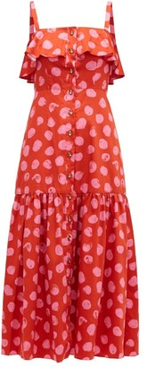 Borgo de Nor Florence Ruffled Polka-dot Cotton Midi Dress - Red Multi