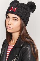 Forever 21 Minnie Mouse Ribbed Knit Pom Pom Beanie