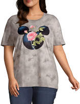 Disney Collection Juniors Plus Spring 20 Tee-Womens Crew Neck Short Sleeve Mickey Mouse T-Shirt