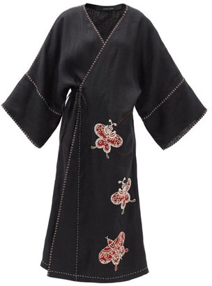 Vita Kin Kyoto Butterfly-embroidered Linen Wrap Dress - Black Red