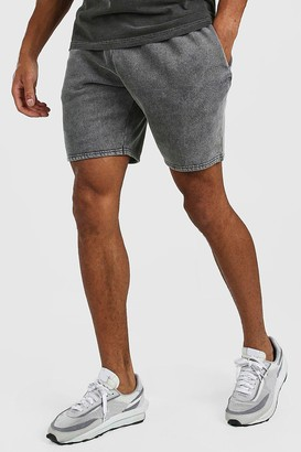 boohoo Mens Grey Mid Length Acid Wash Jersey Short, Grey