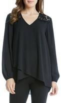 Karen Kane Women's Lace Yoke Asymmetrical Hem Faux Wrap Crepe Top