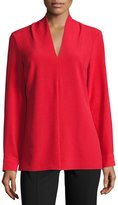 Neiman Marcus V-Neck Long-Sleeve Crepe Blouse, Red