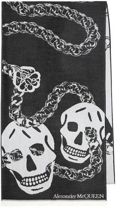 Alexander McQueen Skull wool jacquard scarf