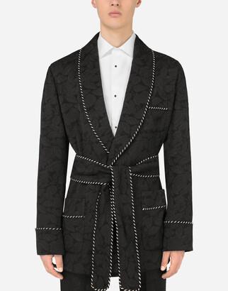 Floral jacquard robe jacket