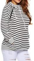 Kalin L Women Color Block Double Hooded Side Zipper Pockets Pullover Hoodie Sweatshirt
