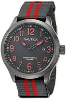 Nautica Men's NAD14520G NCC 01 Stainless Steel Watch with Grey And Red Stripe Band