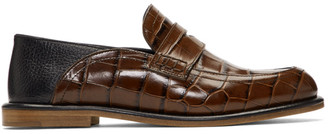 Loewe Brown Croc Slip-On Loafers