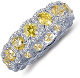 Lafonn Platinum Plated Sterling Silver Simulated Diamond Micro Pave White & Canary Halo Eternity Band